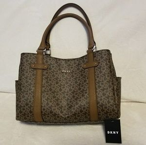 DKNY Logo Kary Small Shop Tote Handbag Brown
